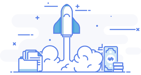 Rocket ship showing agency growth